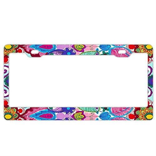 Customized Personalized Stainless Steel License Plate Frame Holder, Decorative License Plate Frame Paisley Flowers Birds Butterfly