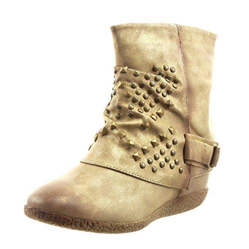 Sopily - Zapatillas de Moda Botines altas Tobillo mujer tachonado Hebilla Talón Plataforma 6 CM - plantilla sintética - forradas en piel - Caqui