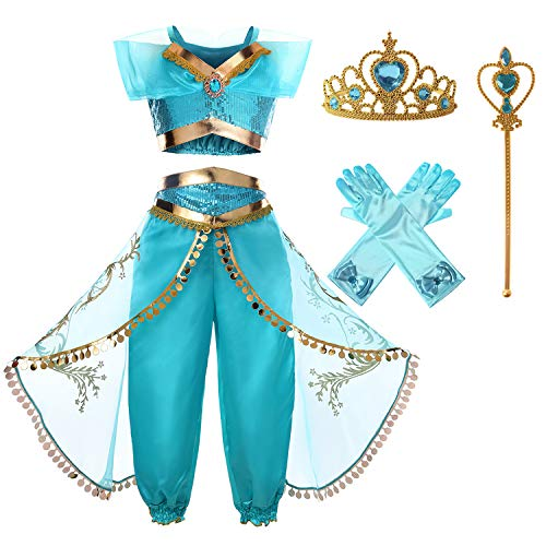 JerrisApparel Girls Princess Jasmine Costume Halloween Cosplay Party Dress Up (6, Blue with ()