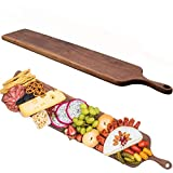 Real walnut Wood Cheese Board with Handle by Walux, Charcuterie Platter,XL Cheese Board, Large Wooden Cheese Serving Board,Extra Large Charcuterie Board,