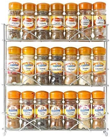 Neo® Chrome 3 Tier Free Standing Spice Rack Jar Holder for Kitchen Storage Cupboard