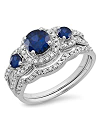10K Gold Round Blue Sapphire & White Diamond Ladies 3 Stone Halo Bridal Engagement Ring Set