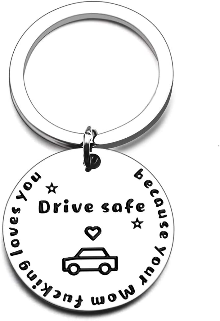 Love You Keychain to Son Daughterr from Mom and Dad Drive Safe for Valentine Day Gifts Birthday Drive Safe for Valentine Day Gifts (Because Your Mom Loves You Keychain)