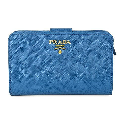 Prada Bi-fold Zip Saffiano Leather Wallet - Cobalto