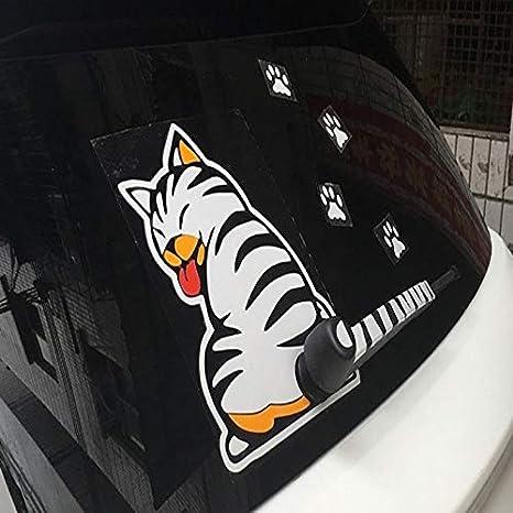 TEAMYO Pegatinas de Coche de Dibujos Animados Divertido Gato Mover Cola Pegatinas Reflexivo Car Styling Ventana