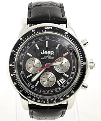 9a29a97ec525 Gent s Jeep High Spec Black Leather 20 ATM Sports Chronograph Watch. R.R.P.  £89.99