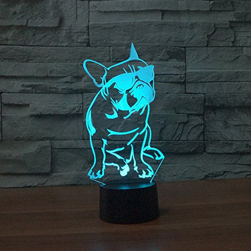MDRE 7 Color Change Gradient Child Bedside Sleeping Night Light Luminarias Cartoon with Glasses Cool Dog Touch Button Lamp Baby Gifts