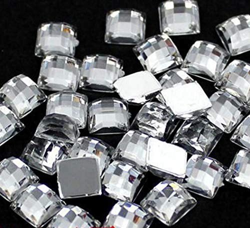 Pukido 4MM-25MM DIY Bling Clear White Square Lattice Faceted Acrylic Rhinestone Flatback Acrylic Stone for Hand Craft Art Decoration - (Color: 14MM 500PCS)