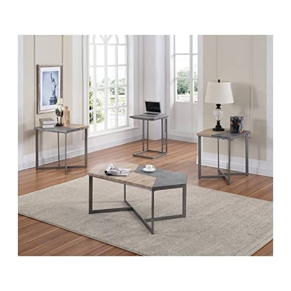 "Artum Hill Square End Table With Multi-Surface Top And Angular Base - The Tyler end table is a unique piece that is sure to draw the eye and create visual interest in your space Dimensions: 24"" Length, 24"" Width, and 24"" Height Makes everyday life a little bit easier with features like durable finish and floor protectors - living-room-furniture, living-room, end-tables - 51ycvxXoyaL. SS570  -"