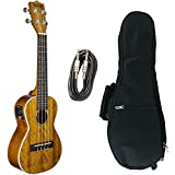 Kala KA-CGE Gloss Mahogany Concert Ukulele with Electronics with Axcessables UB-C Gig Bag and Axcessables 10ft Instrument Cable