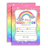 Rainbow Sparkle Birthday Party Invitations for Girls, Ten 5''x7'' Fill In Cards with 10 White Envelopes by AmandaCreation