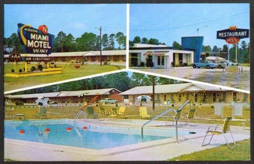 Miami Motel & Restaurant Claxton GA 3-vue postcard 1963