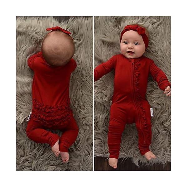 Carolilly Pagliaccetto Neonato Natale Body a Manica Lunga Bimba Tutina Neonato Cotone Pigiama Neonato 2