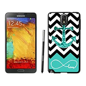 Nice Samsung Galaxy Note 3 Case Durable Soft Rubber Silicone Black Phone Cover Infinite Love Teal Glitter Anchor