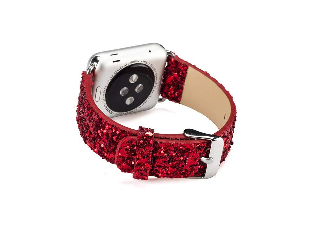 Applicable AppleWatch Sequin Watch with iwatch Flash Star Leather Glitter Bracelet (42mm/44mm - red) by BUMVOR