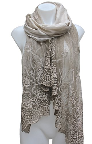 Terra-Nomad-WomensGirls-Long-Sheer-Silk-Viscose-Lace-ScarfShawl