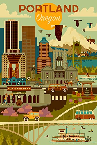 (Portland, Oregon - Geometric (12x18 Art Print, Wall Decor Travel Poster))