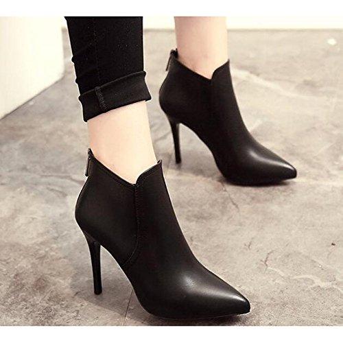 mujer botines talón de Bootie Botas comodidad otoño primavera HSXZ Zapatos Black PU botines Casual Stiletto Negro de 7EfxwnvqA