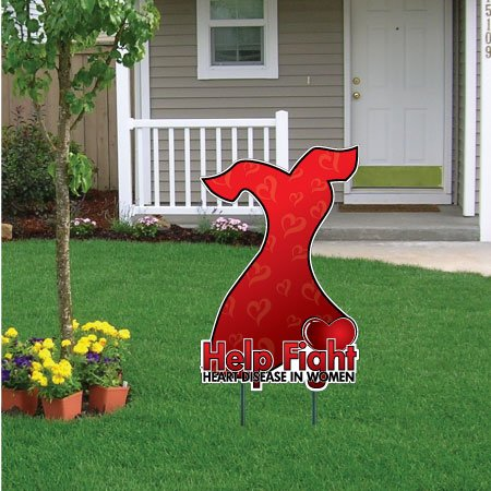 Women's Heart Health Awareness Red Dress Yard Sign w/Stake -