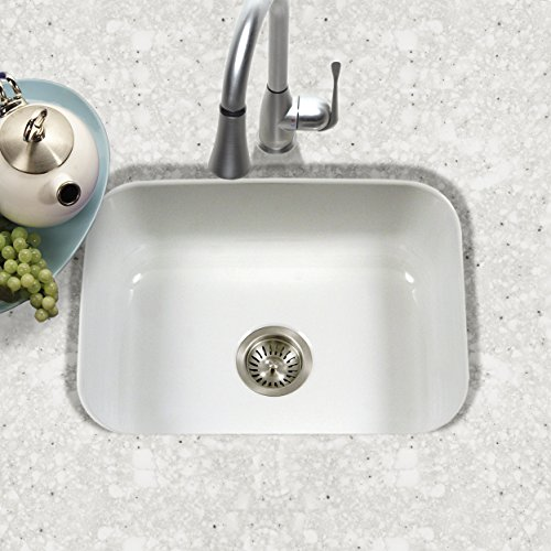 Houzer PCS-2500 WH Porcela Series Porcelain Enamel Steel Undermount Single Bowl Kitchen Sink, White