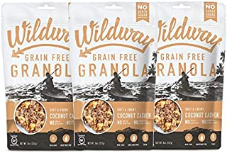 product image for Wildway Keto, Vegan Granola | Coconut Cashew | Certified Gluten Free Granola Breakfast Cereal, Low Carb Snack | Paleo, Grain Free, Non GMO, No Added Sugar | 8oz, 3 pack