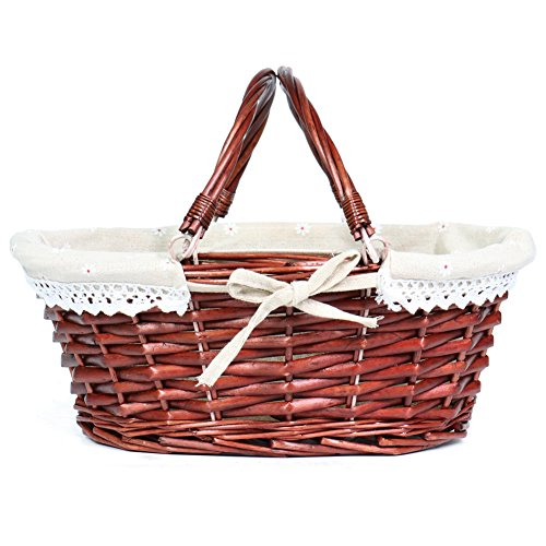 MEIEM Wicker Basket Gift Baskets Empty Oval Willow Woven Picnic Basket Cheap Easter Candy Basket Storage Wine Basket with Handle Egg Gathering Wedding Basket -