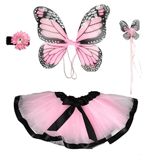 Girls Pink Butterfly Monarch Fairy Costume Age 2-6