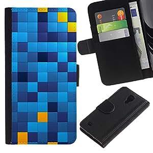 SAMSUNG Galaxy S4 IV / i9500 / SGH-i337 , la tarjeta de Crédito Slots PU Funda de cuero Monedero caso cubierta de piel ( Pattern Chechkered Yellow Blue Squares)