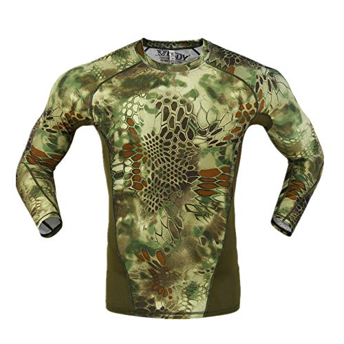 HAN WILD Men's Long Sleeve Military Tactical Shirt Outdoor Assault Camouflage T-Shirt
