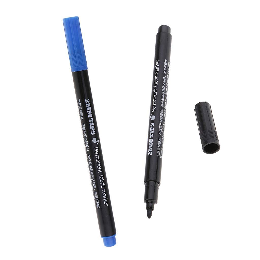 Baoblaze 2 Pieces 2mm Permanent Nontoxic Fabric Markers Pen for DIY T-Shirts Clothes Shoes Bags Black Blue