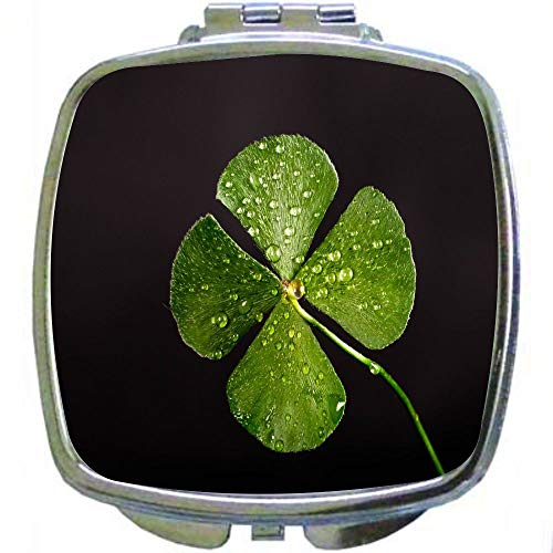 Square Compact Mirror Personal Mirror - Four Leaf Clover on Black Background]()