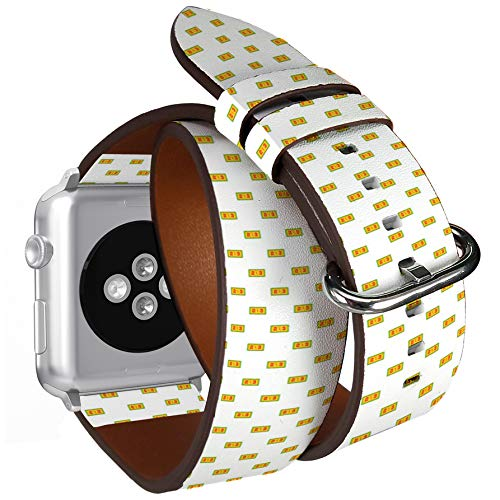 - Compatible with Apple Watch (Big 42mm/44mm) Series 1,2,3,4 - Double Tour Bracelet Strap Wristband Smart Watch Band Replacement - Football Score Cartoon