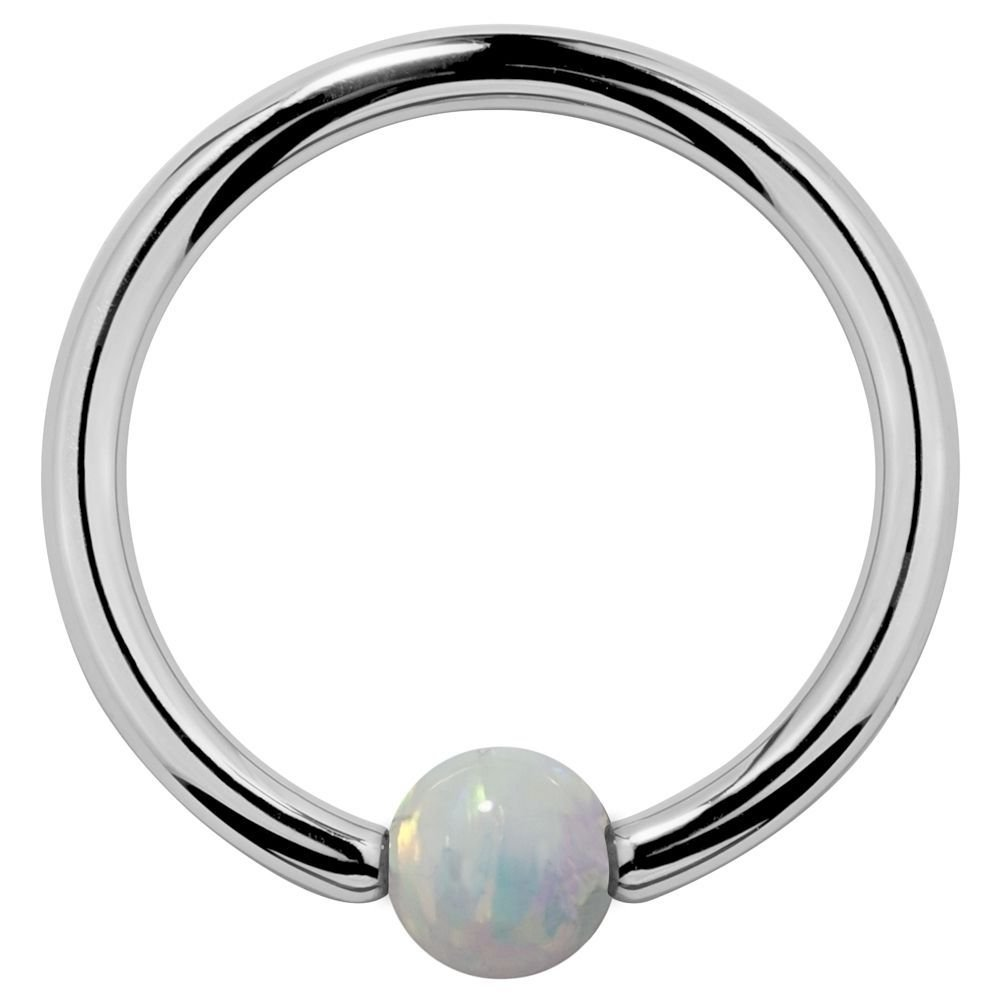 16G 5/16'' White Synthetic Opal 14k White Gold Captive Bead Cartilage Earring Tragus Rook Daith Eyebrow Lip Nose Ring