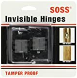 SOSS Mortise Mount Invisible Hinges with 4 Holes, Zinc, Black E-Coated Finish, 2-3/8'' Leaf Height, 1/2'' Leaf Width, 23/32'' Leaf Thickness, #7 x 1-1/4'' Screw Size (10 Pairs)