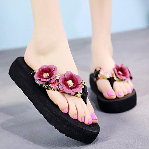 d Pendiente aire al libre sandalias resbaladiza playa flip gruesa con señoras de zapatillas moda verano de suela flops de FLYRCX HzdvwH