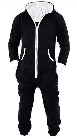 747e95c82f Nicetage Unisex Womens Plain Hooded Zip Up Onesie All in One Fleece Jumpsuit  New-Black2