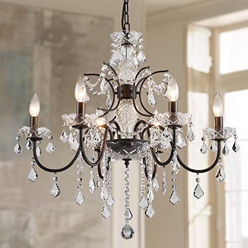 Bestier Bronze Finish Elegent Crystal Candle Candelabra Chandelier 6 Light Lighting Fixture LED Pendant Ceiling Light Dia 24 in x H 23 in
