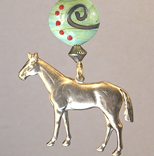Brass Ring Winner's Circle Horse with Green Pastures Artisan Swirl Glass Ceiling Fan Pull Chain