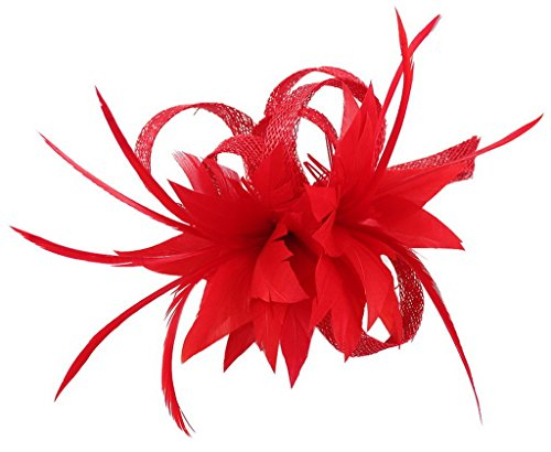 (La Vogue Women Small Sinamay Fascinators Feather Flowers Hair Clip Bridal Red)