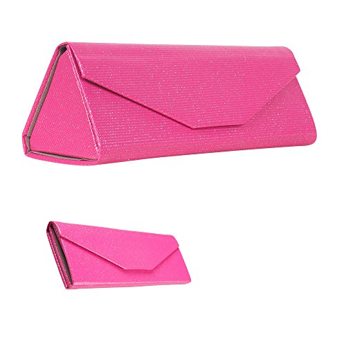 Formal Foldable Eyeglass Case, Elegant Pink Glitter Protective Reading Glasses Holder for Weddings and Special Events, PVC - By - Pink Sunglasses Sparkly