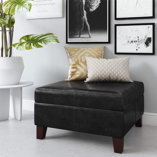Dorel Living Faux Leather Square Storage Ottoman, - Black Leather Square Ottoman