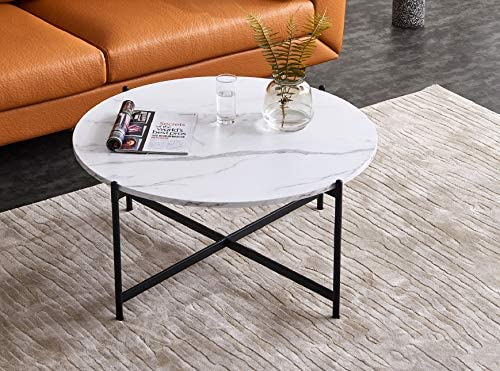 Depointer 36″ Faux Marble Modern Round Coffee Table