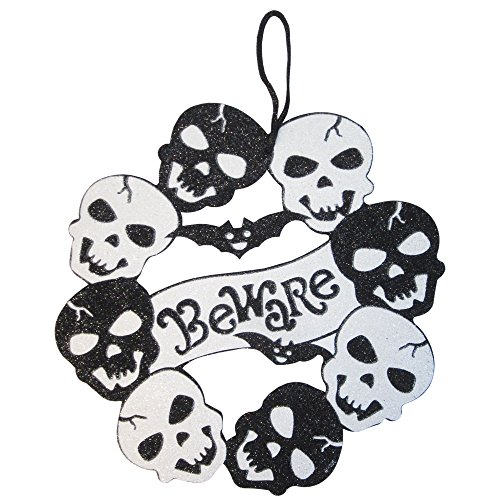 4-pk Skulls Wreath Skeleton Trick-or-treat Bloody Scary Glitter Spooky Pumpkin Ghost Hanging Decorations Value Pack Best for Halloween Haunted House (Homemade Halloween Decoration Ideas For Outside)