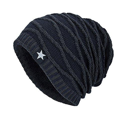 (URIBAKE Unisex Knitting Baggy Cap Hedging Head Hat Beanie Cap Warm Outdoor Fashion Hat Star Pattern)