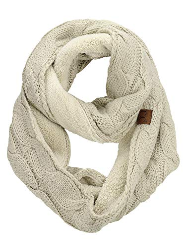 C.C Women's Winter Cable Knit Sherpa Lined Warm Infinity Pullover Scarf, Beige
