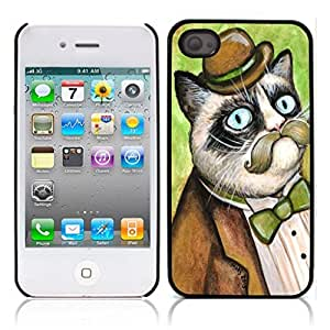 Grumpy Cat Hard Plastic and Aluminum Back Case for Apple iphone 4 4S