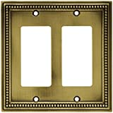 Beaded 2 Decorator Outlet Plate - Tumbled Antique Brass