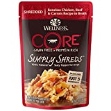 Wellness Core Simply Shreds Natural Grain Free Wet Dog Food Mixer Or Topper, Chicken, Beef & Carrots, 2.8-Ounce Pouch