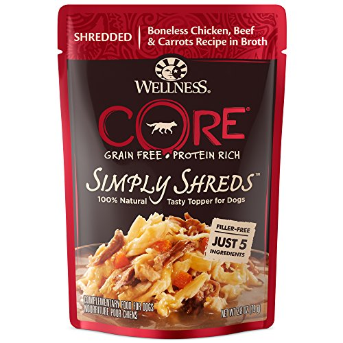 Wellness Core Simply Shreds Natural Grain Free Wet Dog Food Mixer Or Topper, Chicken, Beef & Carrots, 2.8-Ounce Pouch (Pack of 12)