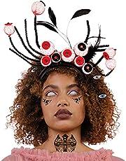 4 stuks Halloween hoofdband, rode oogappels hoofdbanden gevederde Halloween haarbanden, heks verkleedaccessoire, kostuum, cosplay party hoofdtooi decoratie spin haarbanden voor kinderen meisjes
